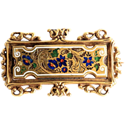 Antique Circa 1890 14K Art Nouveau Enameled Brooch