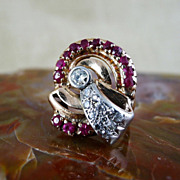 Beautiful  Art  Deco  Lady's  14K  Rose  Gold  Ruby  &  Diamond  Ring