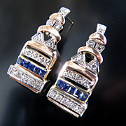 Lady's Rose Gold Diamond & Sapphire Earrings