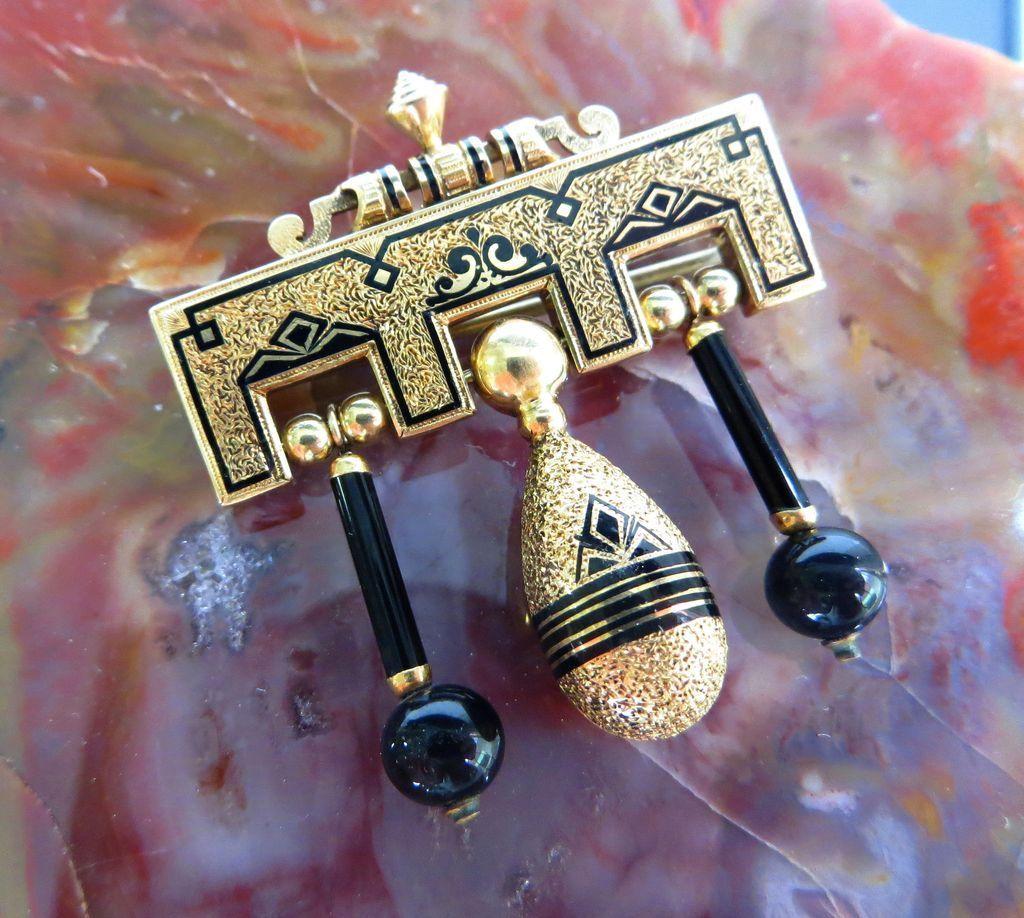 Fantastic Circa 1880 14K Victorian Onyx Tassle Brooch
