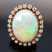Fabulous Vintage Lady's 14K 25 Ct. Opal & Diamond Ring