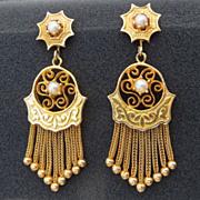 Lady's Victorian 14K Tassel & Pearl Earrings