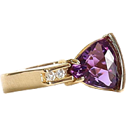 Lady's 18K Custom Trillion Cut Amethyst & Diamond Ring