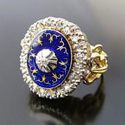 Lady's Antique 18K Edwardian Blue Enamel & Diamond Ring