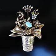 Rare Antique Victorian 14K Hatpin & Thimble Brooch