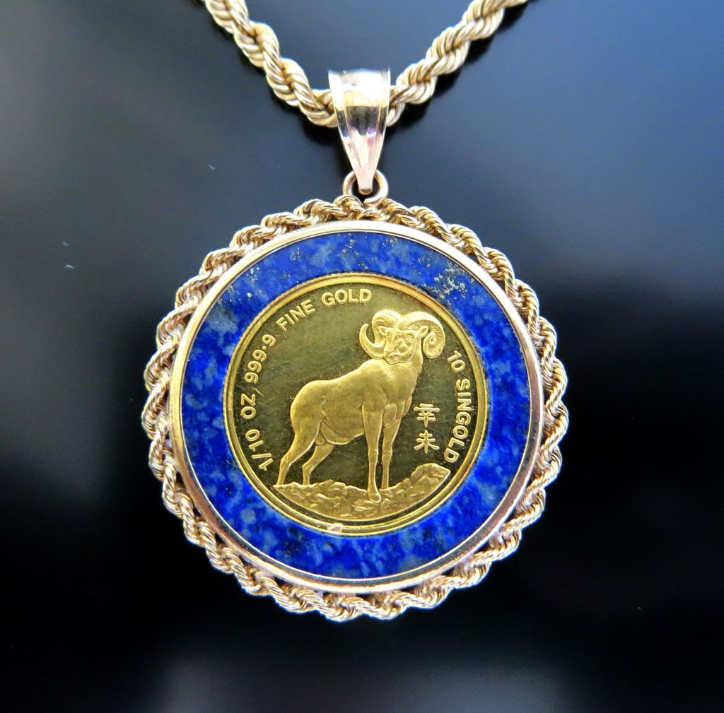 24K Gold Coin Set In Lapis & 14K Bezel With 14K Chain