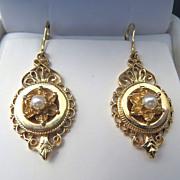 Lady's Circa 1900 Antique 14K Pearl Earrings