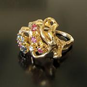 Vintage Lady's Circa 1960 14K Multi-Gem Ring