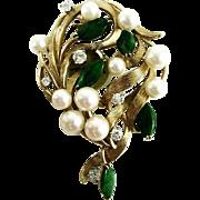 Vintage 14k Cultured Pearl, Diamond, & Jade Brooch