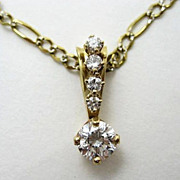 Estate 14k Diamond Drop Pendant & Chain