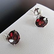 Lady's Custom 14K White Gold Rhodolite Garnet Stud Earrings