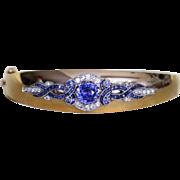Lady's Vintage 14K Diamond & Sapphire Bangle Bracelet