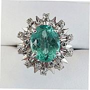 Lady's Vintage 18K Paraiba Apatite & Diamond Ring