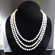 Circa 1920's Lady's 14K Triple Strand Pearl & Sapphire Necklace