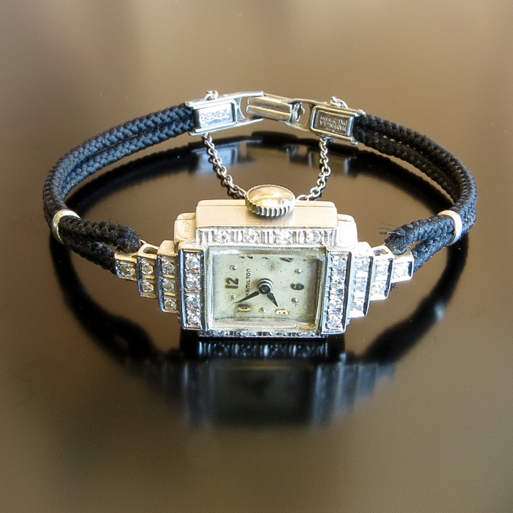 Vintage Lady's 14K White Gold Diamond Hamilton Watch