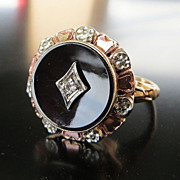 Lady's Antique Circa 1900 Rose 10K Gold Onyx & Diamond Ring
