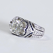 Exceptional Lady's Custom Vintage 14K Diamond & Sapphire Ring