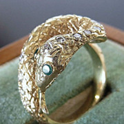 Exquisite Vintage 14K Diamond & Emerald Snake Ring