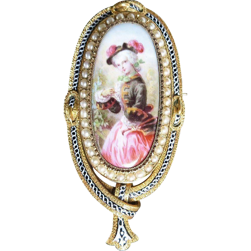 Magnificent Circa 1880 18K Enameled French Brooch