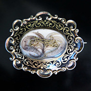 Dated 1865 Rare Victorian Enameled Mourning Hair Brooch
