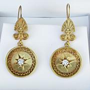 Fabulous Pair Of Ladys Victorian 14K Diamond Earrings
