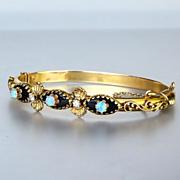 Antique Circa 1910 14K Enameled Diamond & Opal Bangle Bracelet