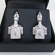 Exquistite Pair Of Ladys Vintage Art Deco Platinum Earrings