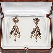 Circa 1880 Lady's Victorian 14K Enameled Pearl Drop Earrings