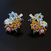 Fabulous Vintage Pair Of Lady's 14K Multi-Gemstone Floral Motif Earrings