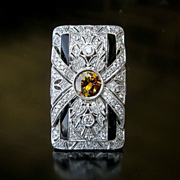 Lady's Custom Art Deco Style 18K Diamond & Onyx Ring