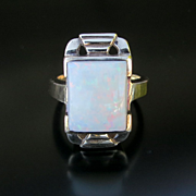 Lady's Circa 1020's Art Deco 10K Opal Ring
