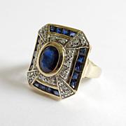Lady's Vintage Custom 14K Sapphire & Diamond Ring