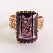 Circa 1860 14K Rose Gold Intaglio Cut French Amethyst Ring