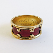 Rare 18K Gothic Revival Dated Enameled Ring
