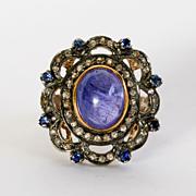 Lady's Viintage Silver & Gold Diamond, Sapphire & Tanzanite Ring