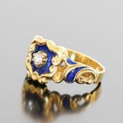 Magnificent Lady's Art Nouveau 18K Enamel & Diamond Ring
