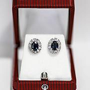 Vintage Lady's 14K Diamond & Sapphire Earrings