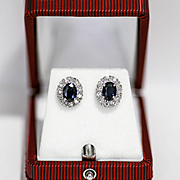 Vintage Lady's 14K Diamond & Sapphire Earrings