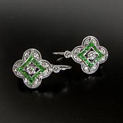 Lady's Custom 14K Tsavorite Garnet & Diamond Earrings