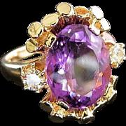 Lady's Lovely 14K Vintage Amethyst & Diamond Ring
