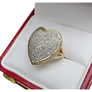 Lady's Vintage 14K Heart Shaped Pave Diamond Ring