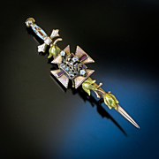 Antique 14K Rose Gold York Rite Knights Templar Pin