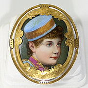 Circa 1900 Rare Portrait On Porcelain Of Lillian Russell