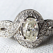 Lady's 14K White Gold Art Deco Style Oval Diamond Ring