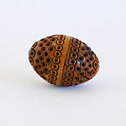 Circa 1880 Intricate Victorian Walnut Sewing Egg