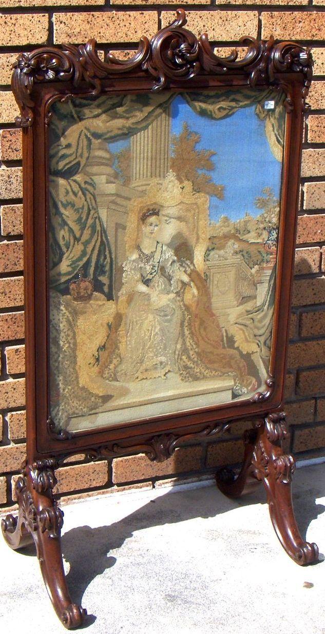 magnificent antique rosewood crewel screen