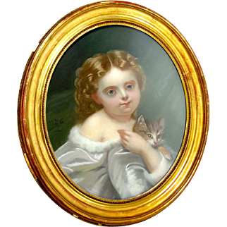SALE Antique French Pastel Painting Portrait of a Little Girl & her Cat, Signed & Framed