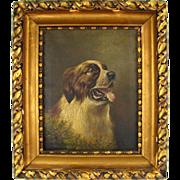British Artist L. M. Webb Signed Saint Bernard Dog Portrait Painting