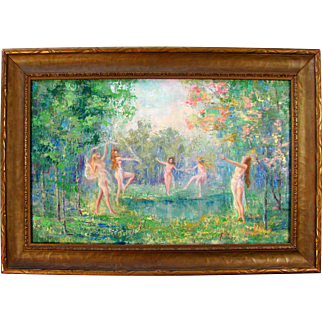 SALE Impressionist Oil Painting by Listed American Artist Leola Freeman, Nude Dancers in a Forest