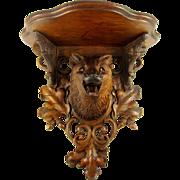Rare Antique Black Forest Hand Carved FOX Head, Glass Eyes, Wall Console Bracket Shelf